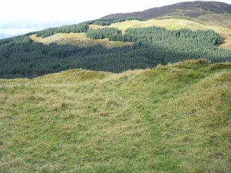 View along inside of north rampart, photograph of Dun Deardail, from a topographic archaeological survey at five Pictish Forts in the Highlands