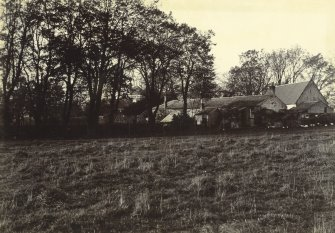 View from SE showing stables and house, the Peel, Busby
