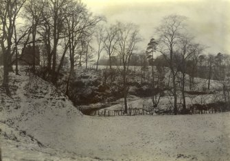General view of snow-covered grounds, The Peel, Busby