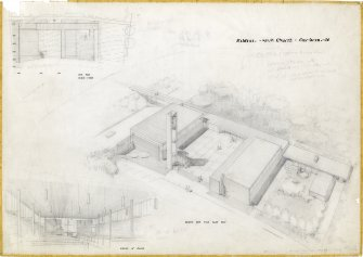 Cumbernauld, Kildrum Parish Church. Aerial perspective, interior perspective and site plan. Title: 'Kildrum Parish Church, Cumbernauld.' Signed: 'AR.'