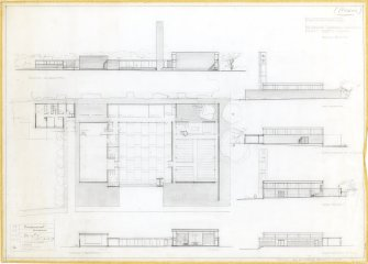 Cumbernauld, Kildrum Parish Church. Plan, elevations and sections. Titled: 'Cumbernauld, Kildrum Parish Church.  Draft Sketch Plans.' Insc: '1st version'   Signed: 'AR'. Stamped: 'Alan Reiach & Partners, Architects, 22 Ainslie Place, Edinburgh 3'.