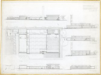 Cumbernauld, Kildrum Parish Church. Plan, elevations and sections. Titled: 'Cumbernauld, Kildrum Parish Church.  Draft Sketch Plans.' Signed: 'AR'.  Stamped: 'Alan Reiach & Partners, Architects, 22 Ainslie Place, Edinburgh 3'.