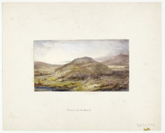 Watercolour drawing showing view of Backies broch.