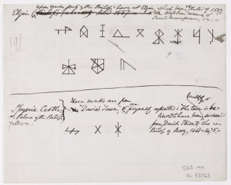 Drawing showing masons' marks from the Bishops' House at Elgin and Spynie Castle.