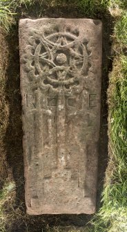 View of medieval recumbent grave slab Kirkmichael 1.