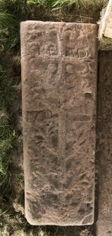 View of medieval recumbent grave slab Kirkmichael 2.