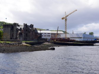 View of castle and shipyard, taken from the east.