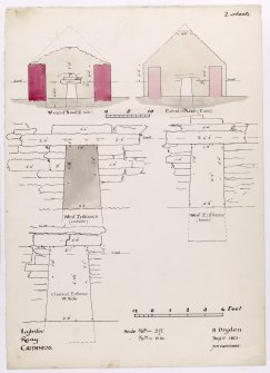 Drawing showing sections and elevations of St Mary's Chapel, Crosskirk.