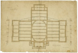 Edinburgh Academy. Plan of foundations showing dimensions. Titled: 'New High School No.2'  '131 George Street July 4th 1823'