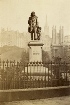 View of John Wilson Statue, Princes Street, Edinburgh, with Old Town in background. PHOTOGRAPH ALBUM No.25: MR DOG ALBUM.