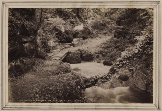 River scene, Cocksburn Glen, Bridge of Allan. Titled 'IN COCKSBURN GLEN, BRIDGE OF ALLAN. 15349 J.V.' PHOTOGRAPH ALBUM NO 11: KIRSTY'S BANFF ALBUM