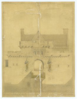 Verso of drawings, after conservation, of elevation of Gateway with proposed statues to Bruce & Wallace.