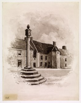 View of the market cross with sundial at Airth.