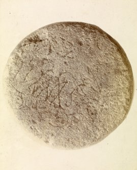 Photograph, Keiss Road Broch, inscribed sandstone disc.