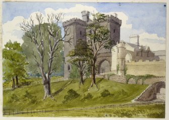 Perspective view of Dundas Castle inscribed '1883'.