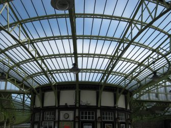 View of glazed roof and booking office at Wemyss Bay Railway Station and Pier.