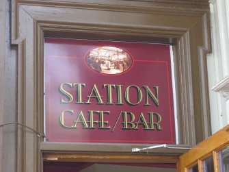 Detail of Station Cafe/Bar sign at Wemyss Bay Railway Station and Pier.