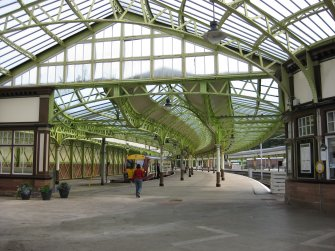View looking along platforms 1 and 2 at Wemyss Bay Railways Station and Pier.