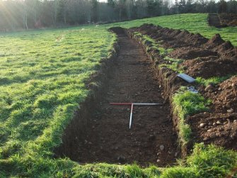 Archaeological evaluation, Trench 12 Post-Excavation with edge of badger buffer, Site 624, Borders Railway Project