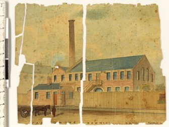 Watercolour of sawmill before conservation treatment.