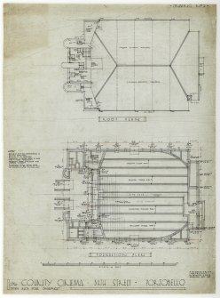 The County Cinema, Portobello, foundation and roof plans.