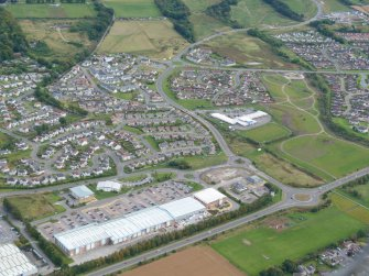 Near aerial view of Inshes Retail Park, Inverness, looking SE.