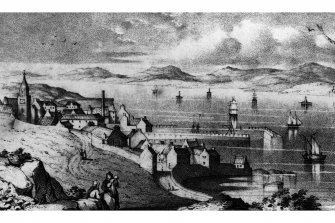 South Queensferry General view. Titled: 'View of South Queensferry'. Engraving.