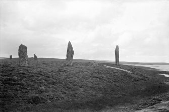 View of stone circle including fallen stone.