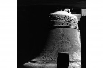 Belfry, detail of 1646 bell, Tolbooth, Kirkcudbright.