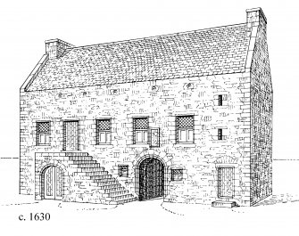 Perspective view, conjectural reconstruction (not to scale), phase 1. Preparatory drawing for 'Tolbooths and Town-Houses', RCAHMS, 1996. N.d.