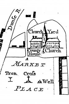 Photocopy of a section from Armstrong's map of 1771 showing the Church, Goal, County House and Market Place with Tron, Cross and Well