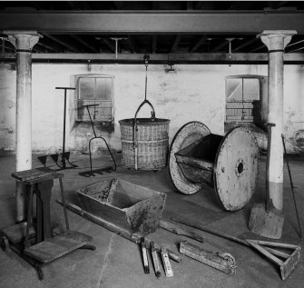 Lagavulin Distillery. Interior view of selection of implements used at the malting stage (and germination).