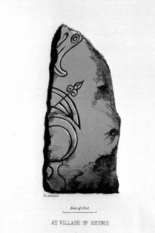 Mains of Rhynie (no.4) symbol stone.  From J Stuart, The Sculptured Stones of Scotland, vol. i, 1856, plate viii.