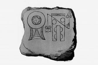 Arndilly symbol stone from J Stuart, The Sculptured Stones of Scotland, i, pl.15. Filed under NJ13NE 7.01.