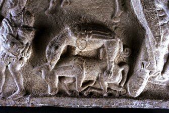 St Andrews Sarcophagus. Detail of hunting scene on lower central section of sarcophagus front panel. Panel 1.