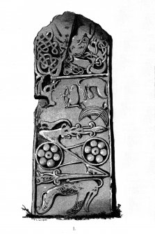 Glenferness, Pictish cross-slab. From J Stuart, The Sculptured Stones of Scotland, i, pl.xxiv.