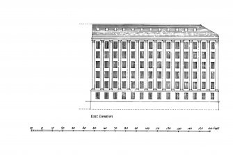 Glasgow, 87-105 Cheapside Street, Houldsworth Cotton Mill. Plan of mill 'as completed', sections, and elevations of the earlier fireproof range.. Included North Elevation, East Elevation, Cross-Section, Longitudinal Section, plan of Engine-house and North Range, wall-profile and half-plan of pilaster.