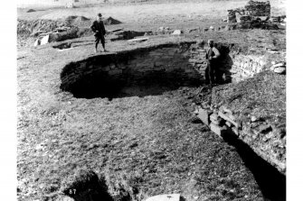 Excavation photograph - entrance passage and centre of broch during excavations. Originals (2 copies) stored in PRINT ROOM.