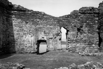Castle Sween, interior. General view of interior of West wall of courtyard.