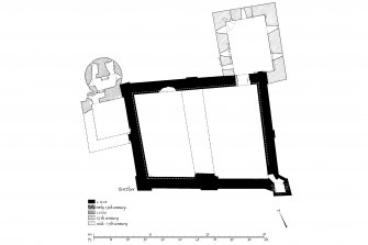 Publication drawing. Castle Sween; phased plan of first floor.