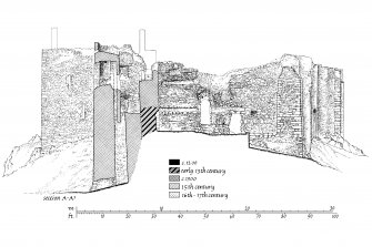 Publication drawing. Castle Sween; section A-A1