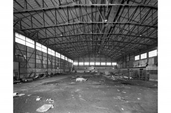Interior-general view of former flying boat hangar at Stannergate, Dundee, from North West