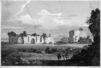 Engraving showing view of Dunstaffnage Castle and Dunstaffnage Chapel from South West.