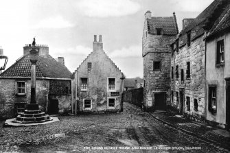View of The Cross from the North East. insc. 'The Cross, Oldest House and Bishop Leighton Study, Culross'  (postcard, JB White Ltd. Dundee, 'The Best of All' series)