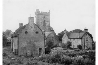 View of West gable of Parleyhill House with Abbey Manse and Tower in background, from West.