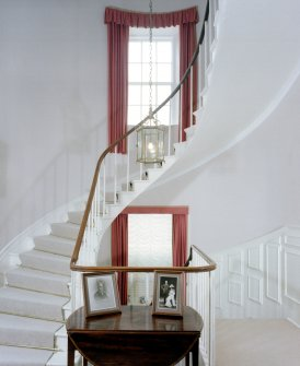 Leith Hall, interior.  First floor. Staircase: view from West