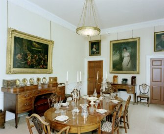 Leith Hall, interior.   First floor. Dining room: view from South East