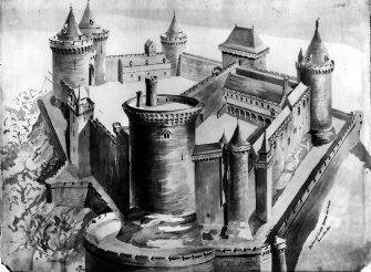 Photographic copy of a conjectural reconstruction of Bothwell Castle.