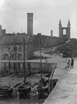View from East of pier, Bell Rock Tavern and in background St Andrews Cathedral.