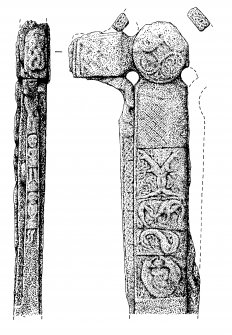 Digital copy of measured drawing of cross-slab, Canna (12). W front.